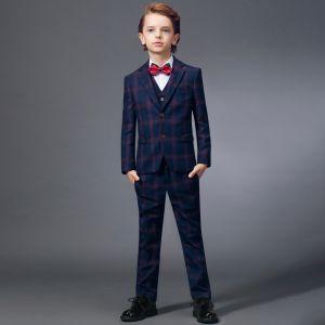 Simple Rouge Cravate Bleu Marine à carreaux Costumes De Mariage pour garçons 2020