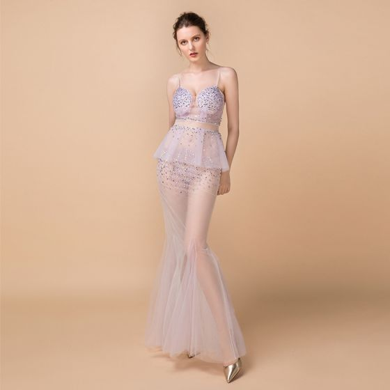 2aa5ecb460 Sexy Lavender See-through Summer Evening Dresses 2018 Trumpet / Mermaid  Sleeveless Spaghetti Straps Sequins Beading Rhinestone Floor-Length / Long  ...