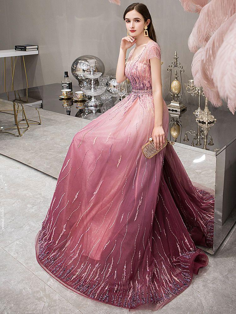 High-end Fuchsia Gradient-Color Evening Dresses  2019 A-Line / Princess Deep V-Neck Short Sleeve Rhinestone Beading Sweep Train Ruffle Backless Formal Dresses