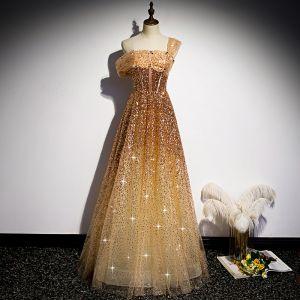 Fashion Gold Dancing Prom Dresses 2020 A-Line / Princess One-Shoulder Short Sleeve Sequins Beading Floor-Length / Long Ruffle Backless Formal Dresses