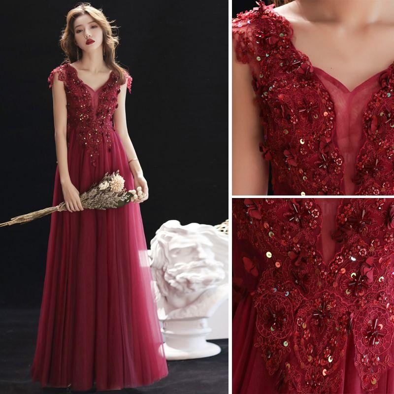 Chic / Beautiful Burgundy Evening Dresses  2019 A-Line / Princess V-Neck Beading Lace Flower Crystal Sleeveless Backless Floor-Length / Long Formal Dresses