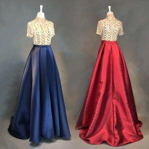 Chic / Beautiful Navy Blue Evening Dresses  2018 A-Line / Princess Sash Handmade  Beading Crystal Rhinestone Sequins High Neck 1/2 Sleeves Sweep Train Formal Dresses