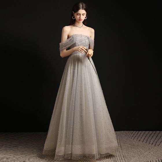 Charming Grey Pearl Prom Dresses 2021 A-Line / Princess Off-The-Shoulder Sleeveless Backless Floor-Length / Long Formal Dresses