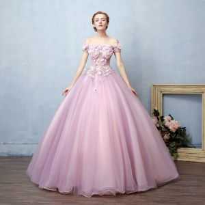 Illusion Blushing Pink See-through Prom Dresses 2019 Ball Gown Off-The-Shoulder Short Sleeve Appliques Lace Pearl Rhinestone Floor-Length / Long Ruffle Backless Formal Dresses