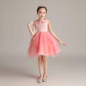 Chic / Beautiful Watermelon Birthday Flower Girl Dresses 2020 Ball Gown Scoop Neck Sleeveless Short Ruffle
