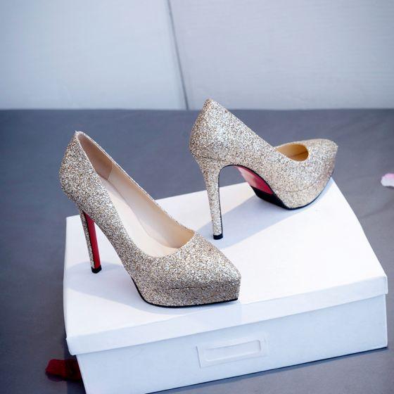 Scintillantes Champagne Demoiselle D'honneur Mariage Escarpins 2020 Paillettes 12 cm Talons Aiguilles À Bout Pointu Chaussure De Mariée