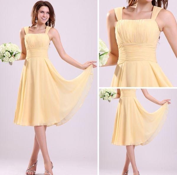 2015 Pretty Pleated Shoulders Short Bridesmaid Dresses