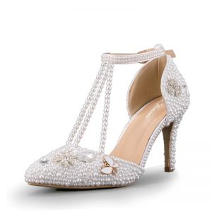 Sexy Ivory Wedding Shoes 2020 Wedding Pearl T-Strap 8 cm Stiletto Heels Pointed Toe Heels