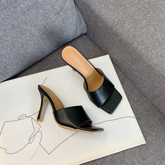 Schlicht Schwarz Freizeit Sandalen Damen 2020 10 cm Stilettos Peeptoes Sandaletten
