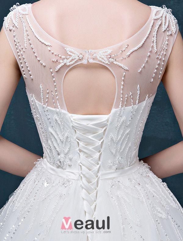 2015 A-line Shoulders Sweetheart Exquisite Beading Sash Wedding Dress