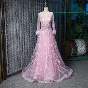 Fabuleux Rougissant Rose Transparentes Robe De Soirée 2019 Princesse Encolure Dégagée 3/4 Manches Plumes Fait main Perlage Longue Volants Robe De Ceremonie