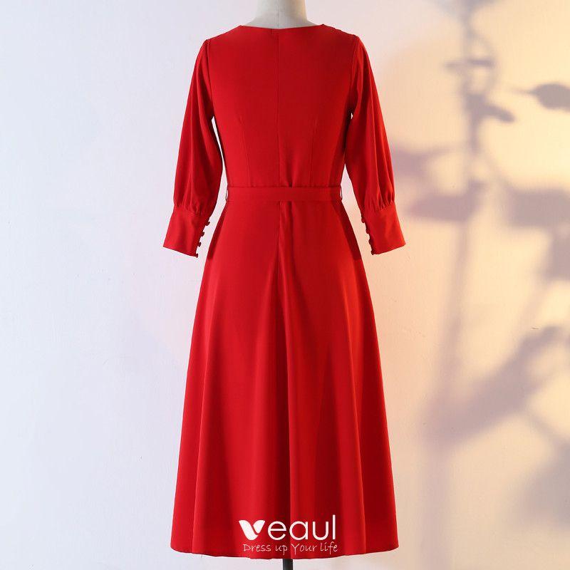 Klassisch Elegante Rot Ubergrosse Abendkleider 2020 A Linie V Ausschnitt Chiffon Einfarbig Schaltflachen Lange Armel Knielang