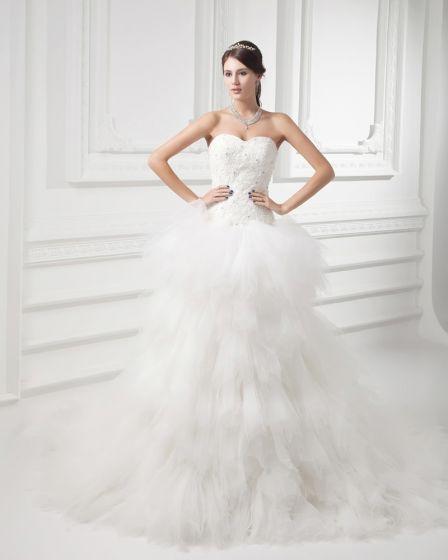 Pociag Tiul Aplikacja Linke Kochanie Sad Warstwowych Suknia Balowa Suknie Ślubne Sukienki Ślubne
