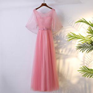 Schöne Pink Brautjungfernkleider 2017 A Linie Mit Spitze Schleife Perlenstickerei Rückenfreies Rundhalsausschnitt 3/4 Ärmel Knöchellänge Kleider Für Hochzeit
