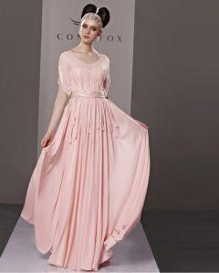 Elegant Scoop Bodenlange Sicke Chiffon Tüll Abendkleid