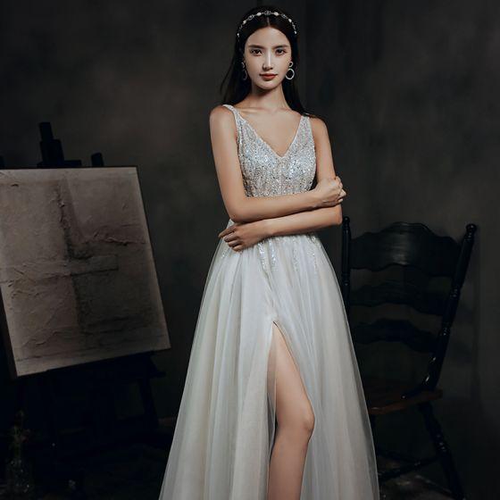 Elegant Grey Dancing Prom Dresses 2020 A-Line / Princess V-Neck Sleeveless Beading Sequins Split Front Sweep Train Ruffle Backless Formal Dresses