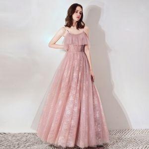 Mooie / Prachtige Blozen Roze Galajurken 2019 A lijn Spaghettibandjes Mouwloos Kralen Lange Ruche Ruglooze Gelegenheid Jurken