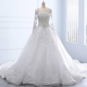 Luxury / Gorgeous White Royal Train Wedding 2018 Tulle U-Neck Backless Beading Crystal Rhinestone Ball Gown Wedding Dresses