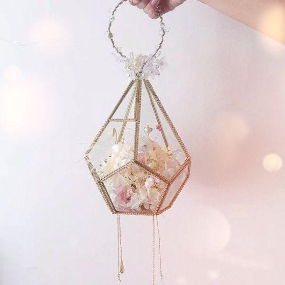 Étourdissant Conte de fée Champagne Bouquet De Mariée 2020 Fait main Perlage Cristal Plumes Fleur Perle Faux Diamant Mariage La Mariée Promo Accessorize