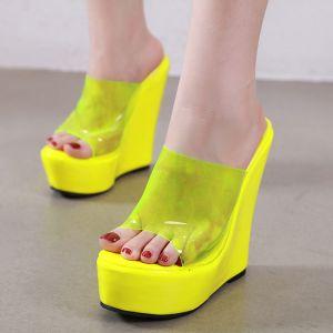 Transparent Jaune Désinvolte Sandales Femme 2020 15 cm Plateforme Peep Toes / Bout Ouvert Sandales