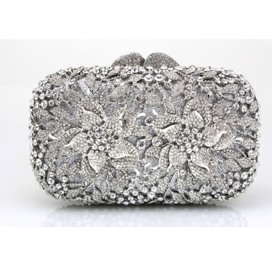 Amazing / Unique Silver Clutch Bags Beading Pierced Rhinestone Metal Evening Party Accessories 2019