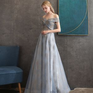 Chic / Beautiful Grey Sky Blue Evening Dresses  2020 A-Line / Princess Off-The-Shoulder Short Sleeve Sequins Glitter Appliques Lace Floor-Length / Long Ruffle Backless Formal Dresses
