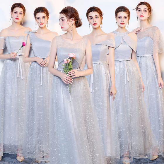 54c2af6286b3c Abordable Argenté Robe Demoiselle D honneur 2019 Princesse Noeud Ceinture  Longue Volants Dos Nu Robe Pour Mariage