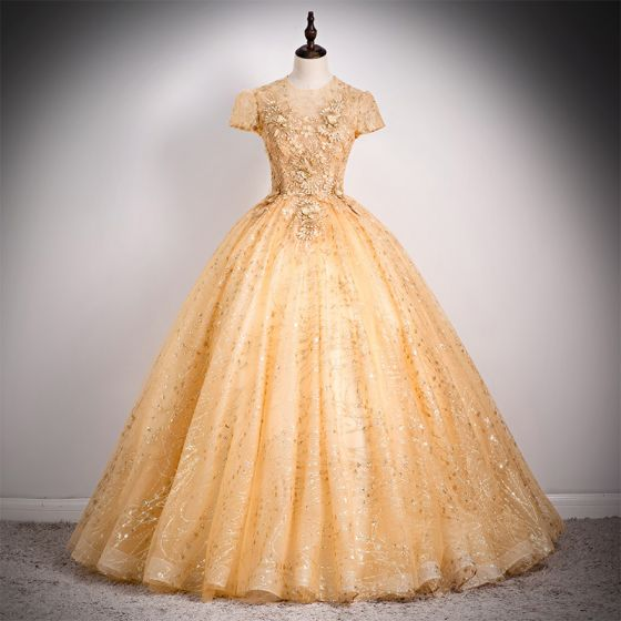 High-end Gold Prom Dresses 2020 A-Line / Princess Scoop Neck Beading Sequins Pearl Lace Flower Cap Sleeves Backless Floor-Length / Long Formal Dresses