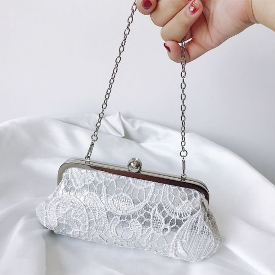 Chic / Beautiful White Clutch Bags Lace Embroidered Handmade  Cocktail Party Evening Party Accessories 2019