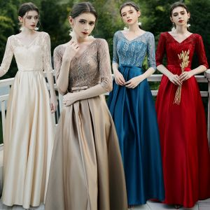 Affordable Brown Satin Bridesmaid Dresses 2020 A-Line / Princess V-Neck 1/2 Sleeves Appliques Lace Bow Sash Floor-Length / Long Ruffle Backless Wedding Party Dresses