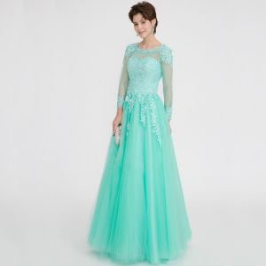 Classic Elegant Mint Green Evening Dresses  2020 A-Line / Princess Floor-Length / Long Long Sleeve U-Neck Appliques Backless Beading Rhinestone Evening Party Formal Dresses