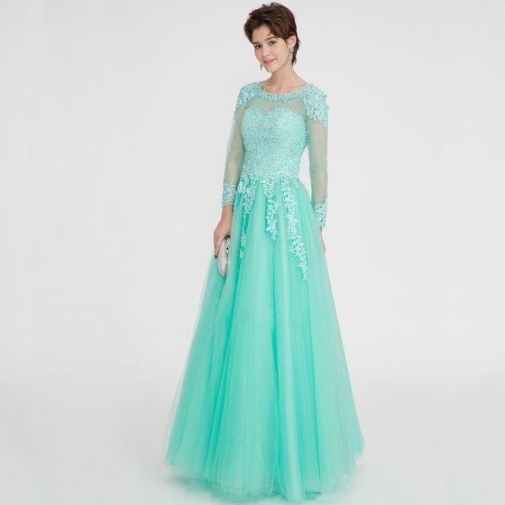 Classic Elegant Mint Green Evening Dresses  2020 A-Line / Princess Floor-Length / Long Long Sleeve U-Neck Appliques Backless Beading Rhinestone Evening Party Formal Dresses