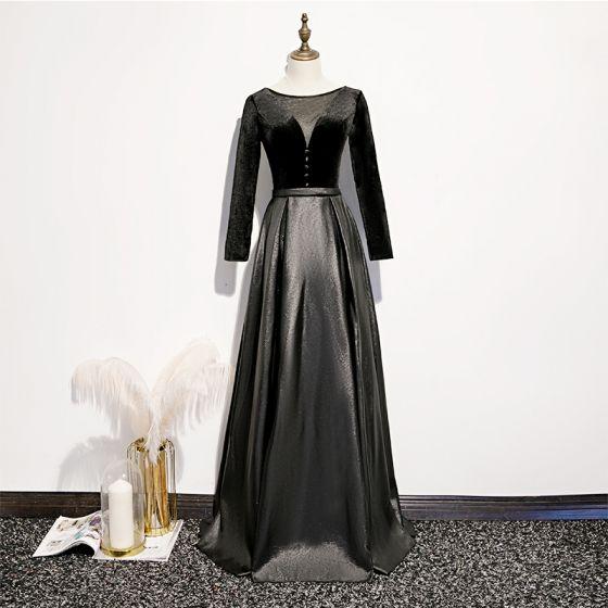Mode Zwarte Suede Satijn Avondjurken 2020 A lijn Doorzichtige Diepe v-hals Lange Mouwen Gordel Lange Ruglooze Gelegenheid Jurken