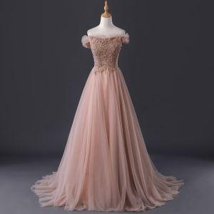 Élégant Perle Rose Robe De Soirée 2019 Princesse De l'épaule Manches Courtes Perlage Train De Balayage Volants Dos Nu Robe De Ceremonie