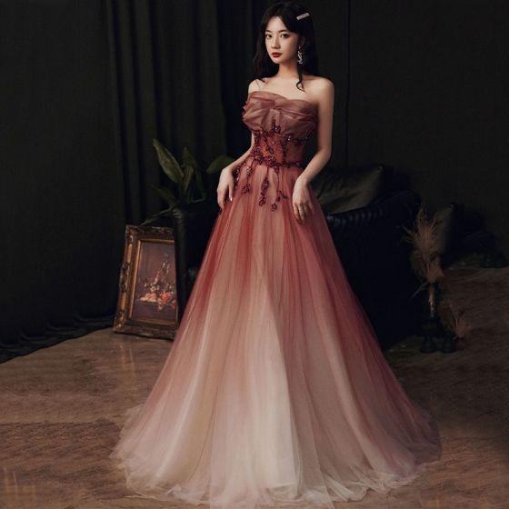 Elegant Burgundy Gradient-Color Prom Dresses 2020 A-Line / Princess Strapless Sleeveless Beading Sweep Train Ruffle Backless Formal Dresses