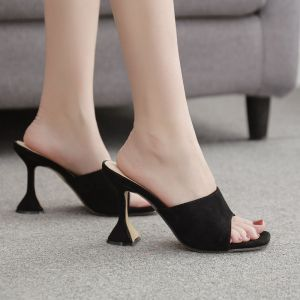 Chic / Beautiful Black Casual Womens Sandals 2020 9 cm Stiletto Heels Open / Peep Toe Sandals
