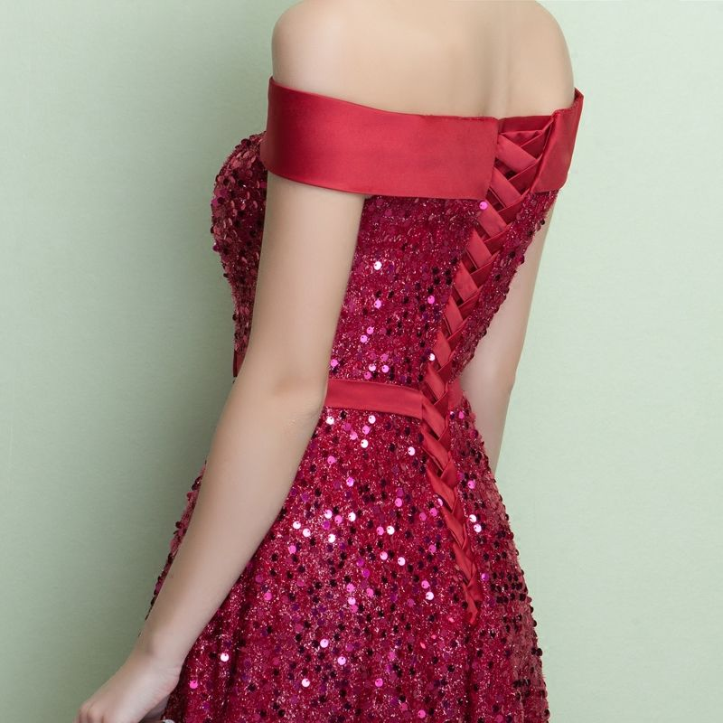 Sparkly Party Dresses 2017 Burgundy A-Line / Princess Crossed Straps Glitter Sequins Strappy Polyester Strapless Cocktail Party Summer Sleeveless Evening Party