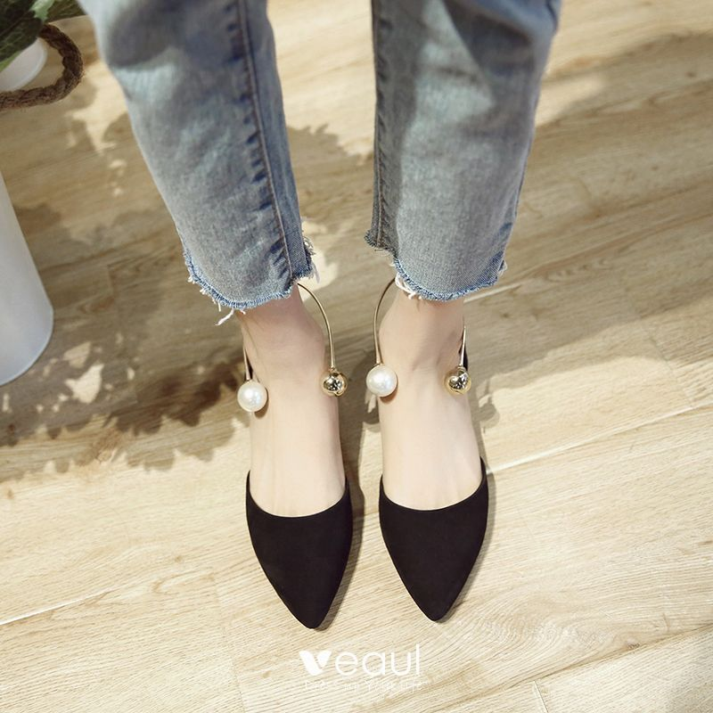 Chic / Beautiful Outdoor / Garden Sandals 2017 Pearl Leather Suede Platform Pointed Toe Womens Shoes