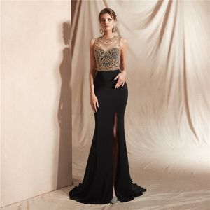 High-end Black See-through Evening Dresses  2020 Trumpet / Mermaid Scoop Neck Sleeveless Beading Split Front Sweep Train Ruffle Formal Dresses