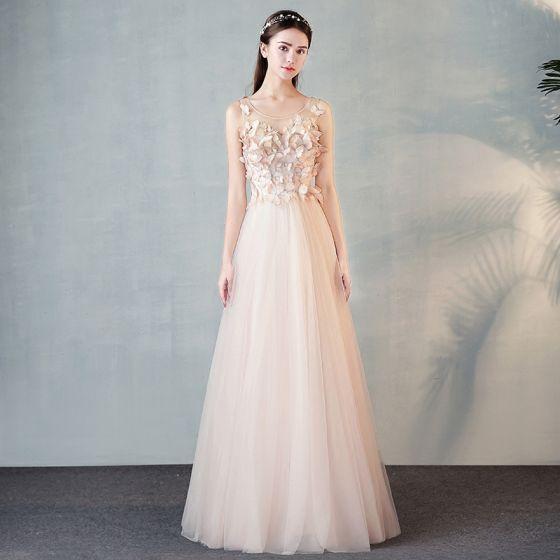 Moda Perla Rosada Transparentes Vestidos De Noche 2018 A Line Princess Scoop Escote 34 ærmer Mariposa Apliques Con Encaje Largos Ruffle Vestidos