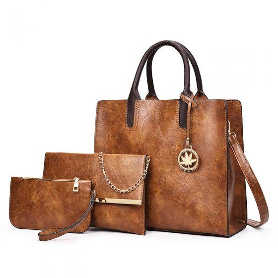 3 Stück Braun Schultertaschen Handtasche Brieftasche 2021 PU Freizeit Damentaschen