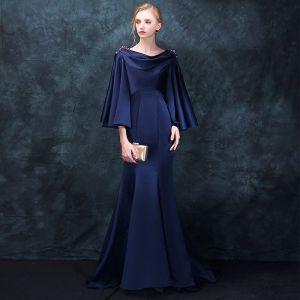 Mode Mørk Marineblå Selskabskjoler 2018 Havfrue Firkantet Halsudskæring Langærmet Beading Feje tog Flæse Halterneck Kjoler