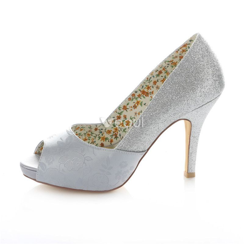 Sparkly Pumps Silver Glitter Bridal Shoes Stiletto Heels 4 Inch High Heel Peep Toe