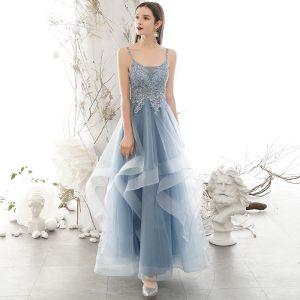 Chic / Beautiful Sky Blue Prom Dresses 2020 A-Line / Princess Spaghetti Straps Rhinestone Lace Flower Sleeveless Backless Cascading Ruffles Floor-Length / Long Formal Dresses