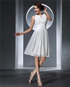Empire Jewel Sleeveless Knee Length Chiffon Little Dresses/Graduation Dresses
