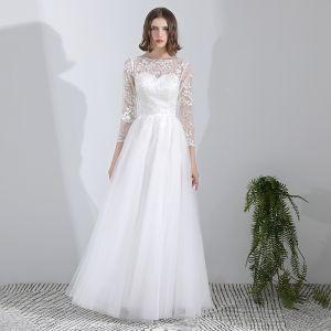 Mooie / Prachtige Witte Lange Huwelijk 2018 A lijn Lace-up U-hals Tule Ruglooze Kralen Pailletten Trouwjurken