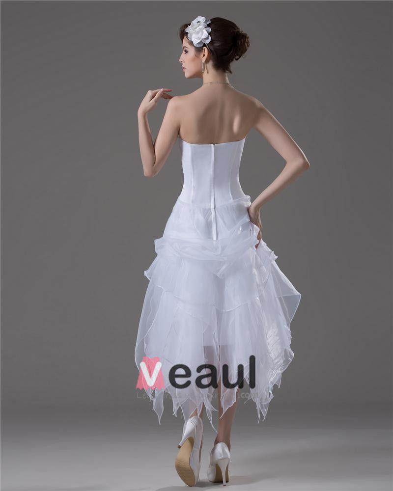 A Line Strapless Ankle Length Satin Short Wedding Dress