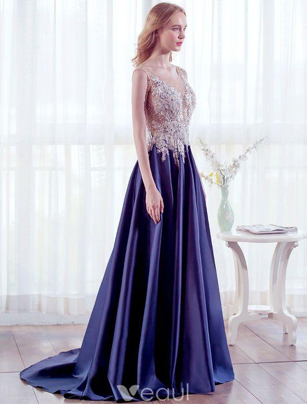 Beautiful Evening Dresses 2017 Scoop Neckline Beading Pearls Applique Lace Long Dress