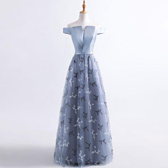 Chic / Beautiful Evening Dresses  2017 Grey A-Line / Princess Floor-Length / Long Off-The-Shoulder Short Sleeve Backless Sequins Appliques Flower Sash Formal Dresses