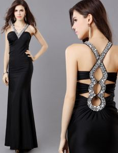 2015 Sleeveless Halter Sequins Floor-length Evening Dress